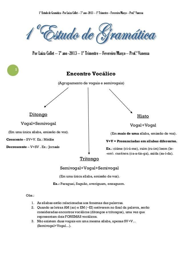 1º Estudo de Gramática - Por Luiza Collet – 7º ano -2013 – 1º Trimestre – Fevereiro/Março – Prof.ª Vanessa  Por Luiza Coll...