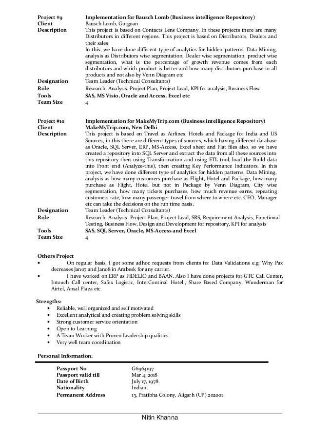 Lead Analyst Sample Resume