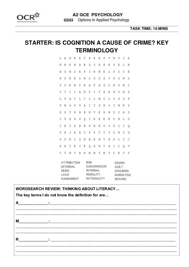 TASK TIME: 10 MINS STARTER: IS COGNITION A CAUSE OF CRIME? KEY TERMINOLOGY WORDSEARCH REVIEW: THINKING ABOUT LITERACY… The...