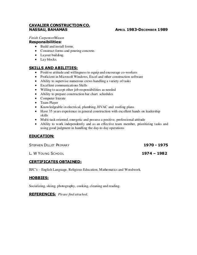 Finish Carpenter Resume Examples