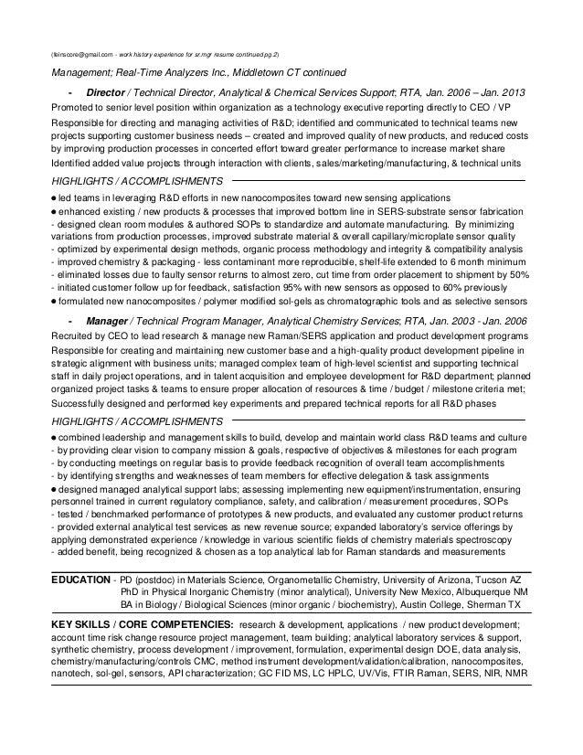 Resume appendix sample