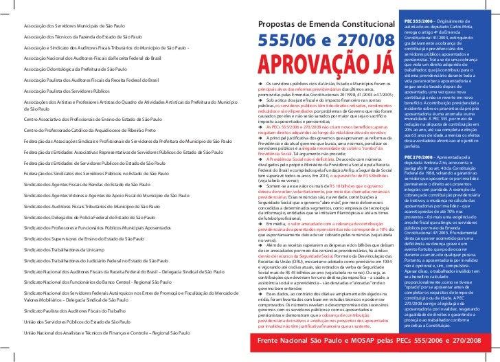 PEC 555/2006 – Originalmente deAssociação dos Servidores Municipais de São Paulo                                          ...