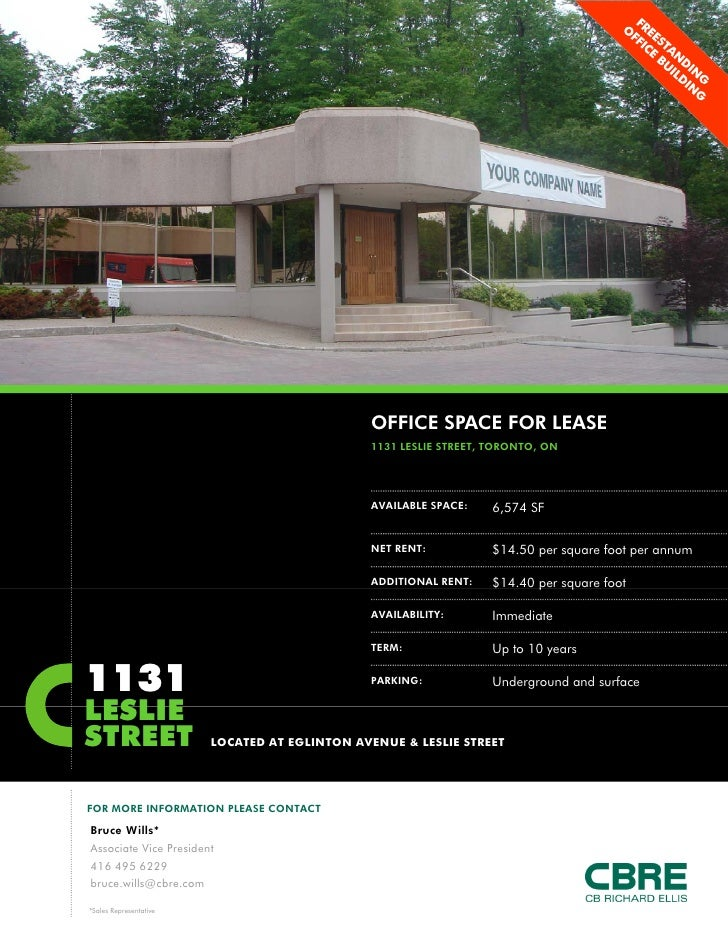 OFFICE SPACE FOR LEASE                                               1131 LESLIE STREET, TORONTO, ON                      ...
