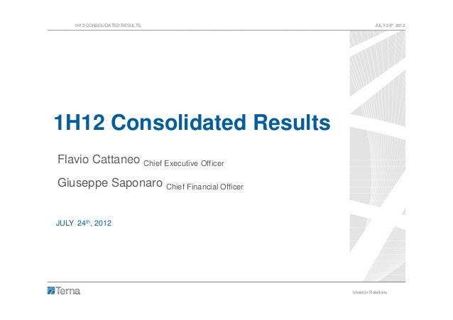1H12 Consolidated Results