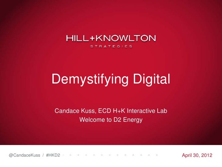 Demystifying Digital                 Candace Kuss, ECD H+K Interactive Lab                        Welcome to D2 Energy@Can...