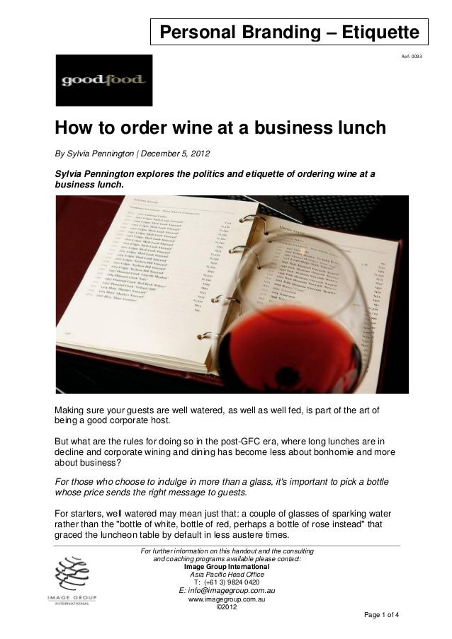 How to order wine at a business lunch