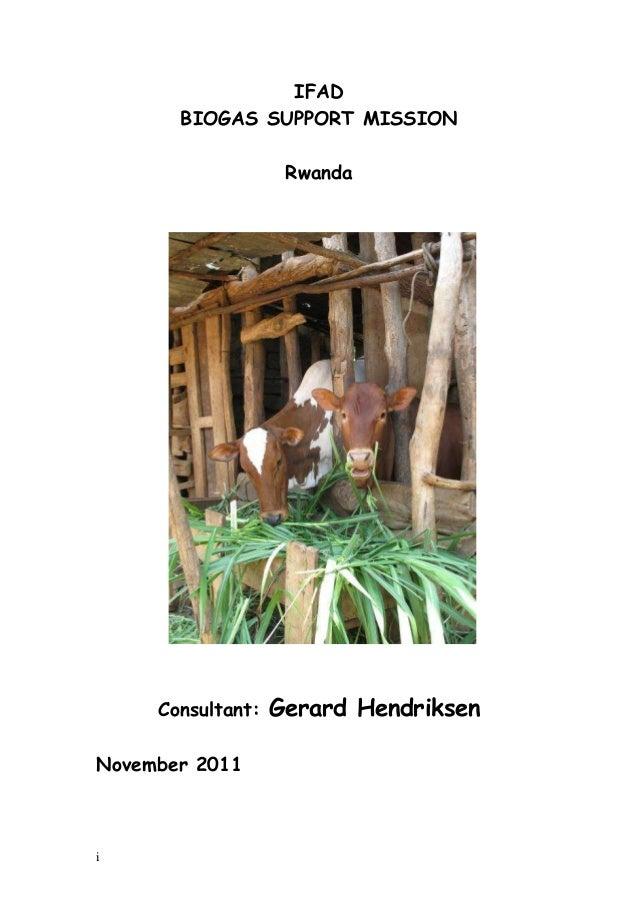 IFAD       BIOGAS SUPPORT MISSION                    Rwanda     Consultant:   Gerard HendriksenNovember 2011i