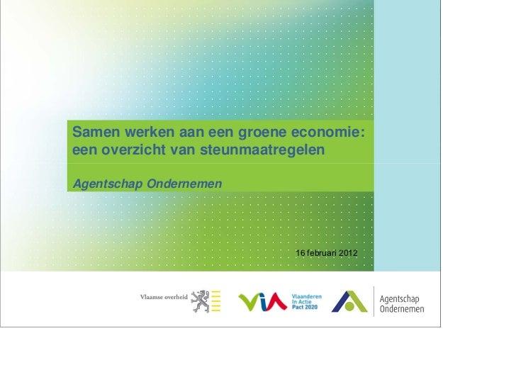 Samen werken aan een groene economie:een overzicht van steunmaatregelenAgentschap Ondernemen                            16...