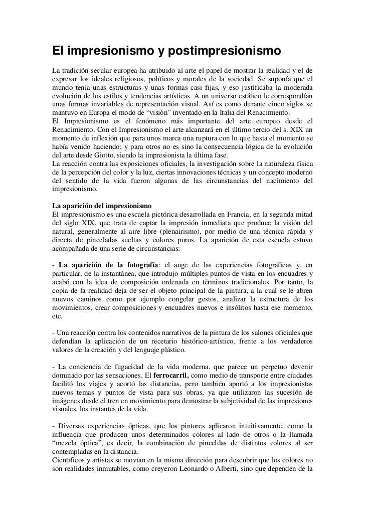 1 introducción.el impresionismo y postimpresionismo