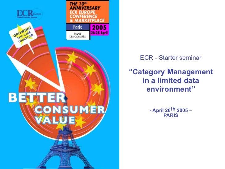 "ECR - Starter seminar                                                                                        ""Category Man..."
