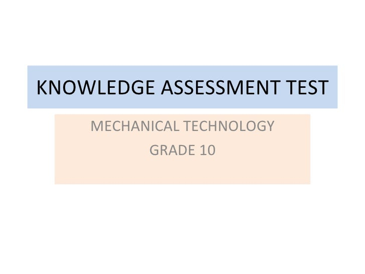 Mechanical Technology Grade 12 Chapter 1 Intro Test