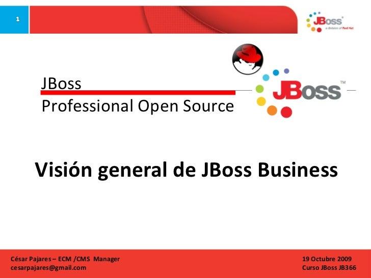 Visión general de JBoss Business  JBoss Professional Open Source 19 Octubre 2009 Curso JBoss JB366 César Pajares – ECM /CM...
