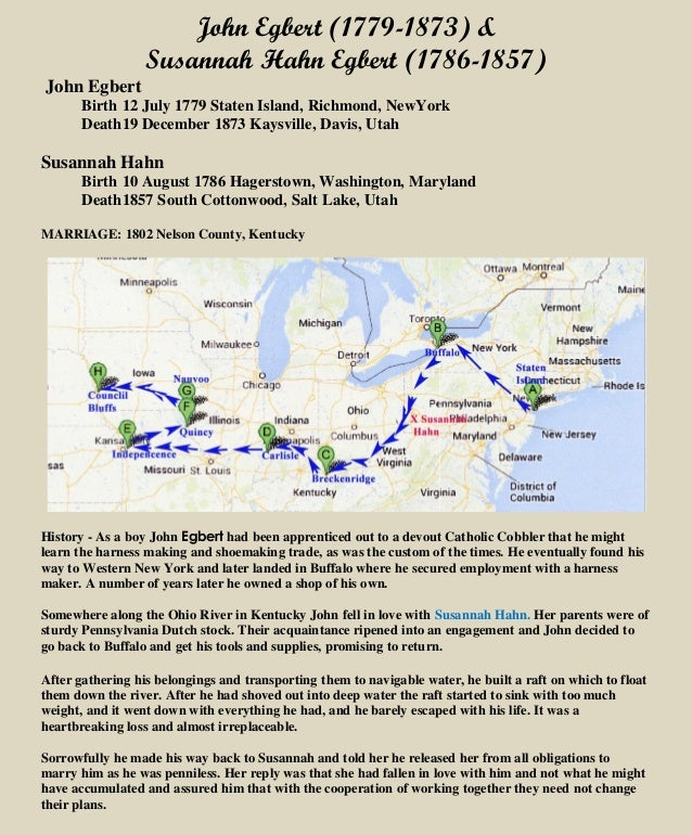John Egbert (1779-1873) & Susannah Hahn Egbert (1786-1857) John Egbert Birth 12 July 1779 Staten Island, Richmond, NewYork...