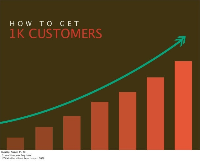 H O W T O G E T 1K CUSTOMERS Sunday, August 11, 13 Cost of Customer Acquisition LTV Must be at least three times of CAC