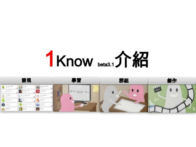 1Know 介紹 beta3.1  發現  學習  群組  創作