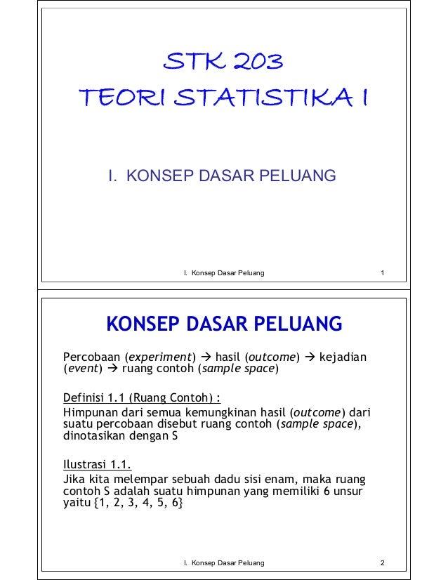 STK 203  TEORI STATISTIKA I       I. KONSEP DASAR PELUANG                    I. Konsep Dasar Peluang              1       ...