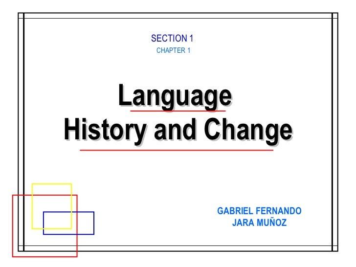 Language  History and Change CHAPTER 1 GABRIEL FERNANDO JARA MUÑOZ SECTION 1