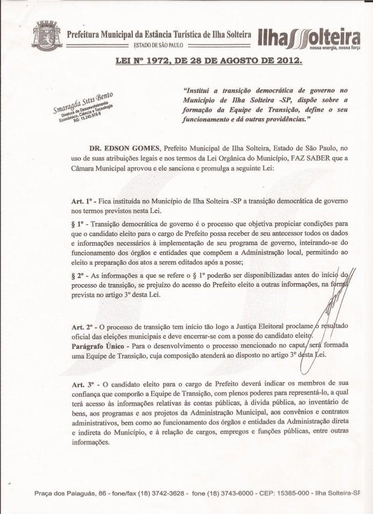 Lei 1972_Transicao de Governo de Ilha Solteira