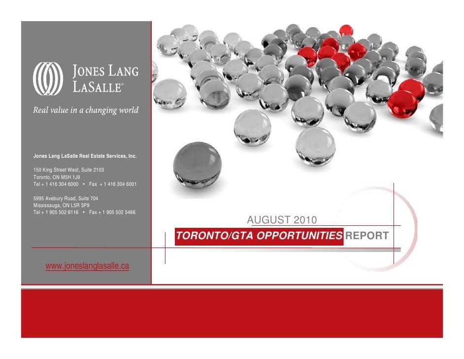 Jones Lang LaSalle Real Estate Services, Inc.  150 King Street West, Suite 2103 Toronto, ON M5H 1J9 Tel + 1 416 304 6000  ...
