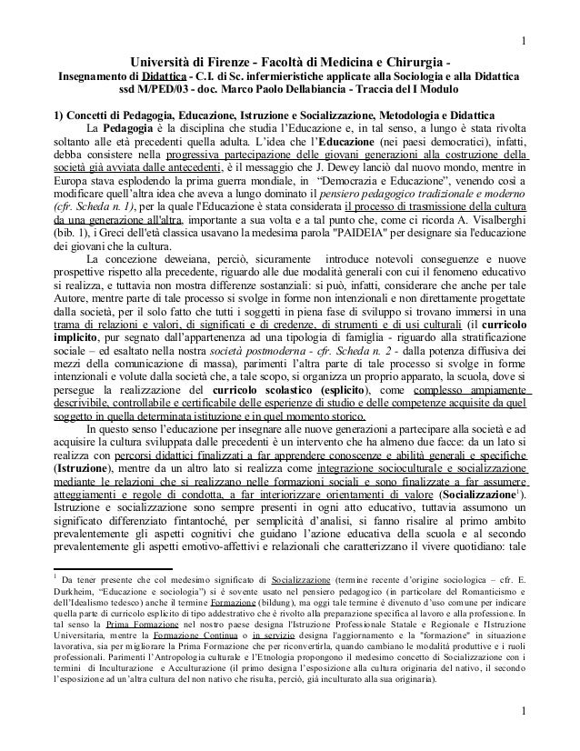 1                     Università di Firenze - Facoltà di Medicina e Chirurgia -    Insegnamento di Didattica - C.I. di Sc....