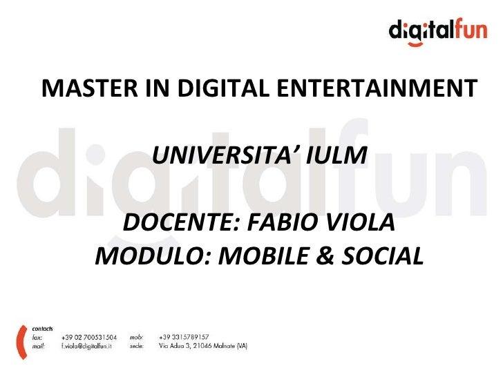 [4/2/2010] Master Digital Entertainment - IULM University