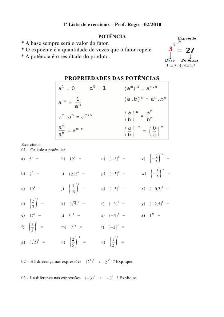1ª Lista de Matematica 9º ano SESC ESCOLA