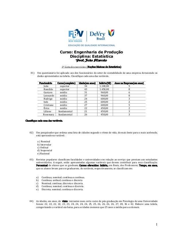1 Curso: Engenharia de Produção Disciplina: Estatística Prof. João Marcelo 1ª Lista de exercícios (Noções Básicas de Estat...