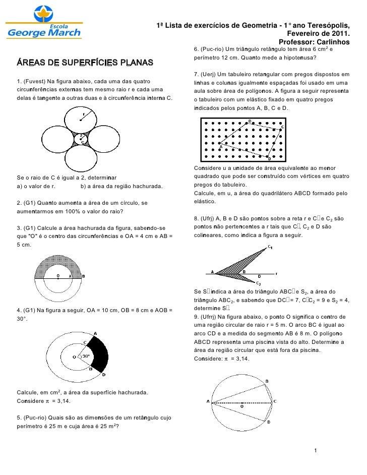 1ª Lista de exercícios de Geometria - 1° ano Teresópolis,                                                                 ...