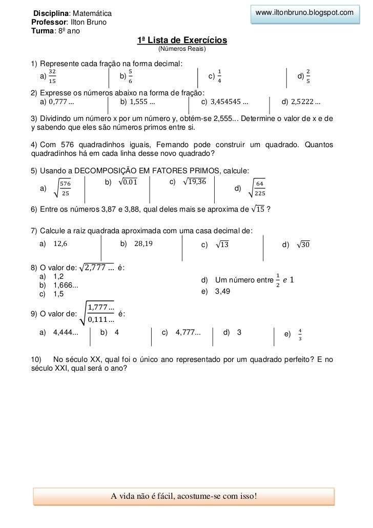 Disciplina: Matemática                                                 www.iltonbruno.blogspot.comProfessor: Ilton BrunoTu...