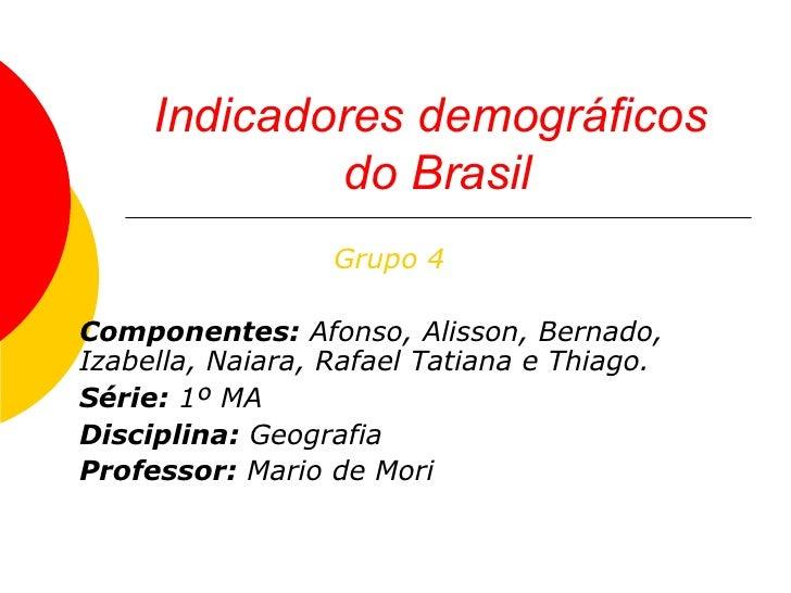 Indicadores demográficos  do Brasil Grupo 4 Componentes:  Afonso, Alisson, Bernado, Izabella, Naiara, Rafael Tatiana e Thi...
