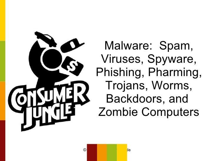 Malware:  Spam, Viruses, Spyware, Phishing, Pharming, Trojans, Worms, Backdoors, and  Zombie Computers