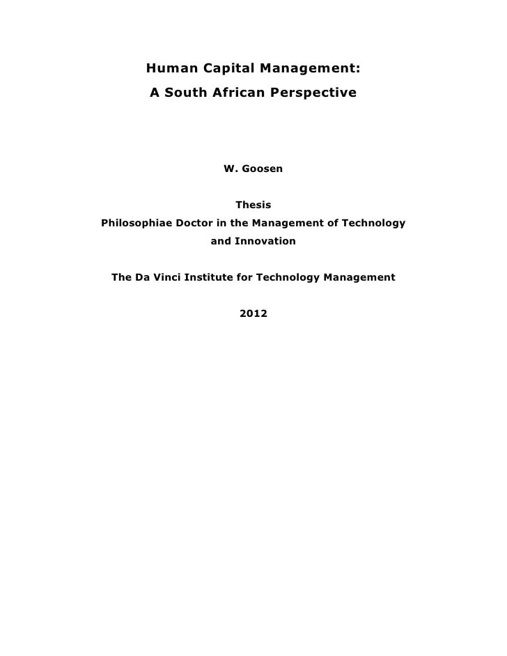 Human Capital Management:        A South African Perspective                    W. Goosen                      ThesisPhilo...