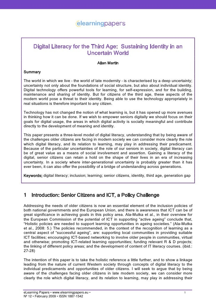 Digital Literacy for the Third Age: Sustaining Identity in an                              Uncertain World                ...