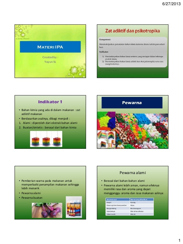 6/27/2013 1 Materi IPA Createdby : Yuyun SL Indikator 1 • Bahan kimia yang ada di dalam makanan : zat adiktif makanan • Be...