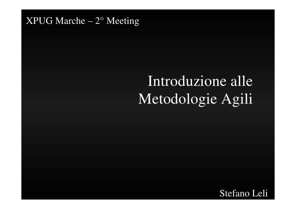 Intoduzione Alle Metodologie Agili