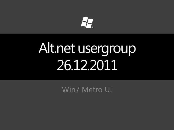 Win7 Metro UI