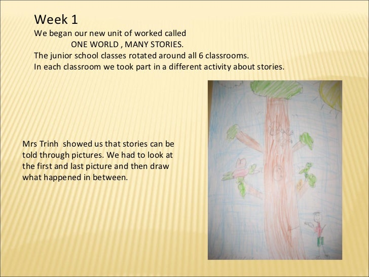 Week 1 We began our new unit of worked called  ONE WORLD , MANY STORIES. The junior school classes rotated around all 6 cl...