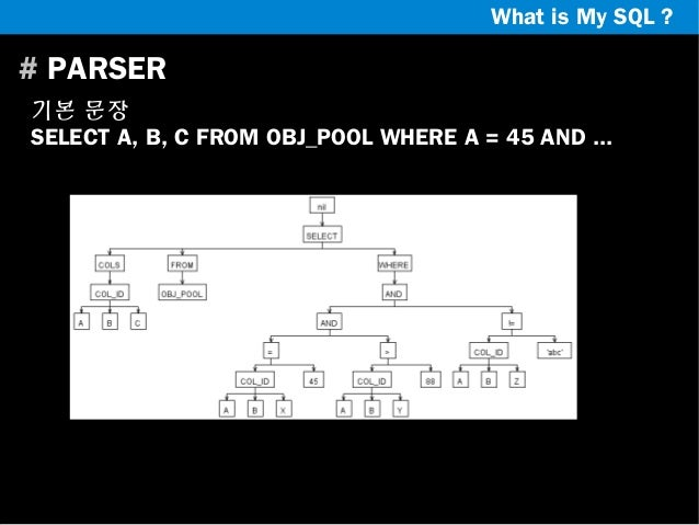 What is My SQL ?  # PARSER 기본 문장 SELECT A, B, C FROM OBJ_POOL WHERE A = 45 AND ...