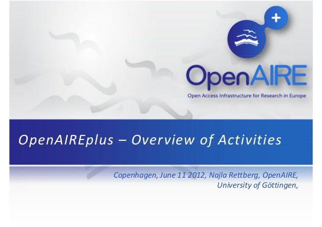 OpenAIREplus – Overview of Activities Copenhagen, June 11 2012, Najla Rettberg, OpenAIRE, University of Göttingen,