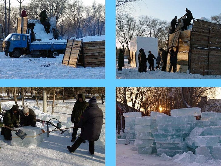 Livraison de la  matière première: La neige et la glace