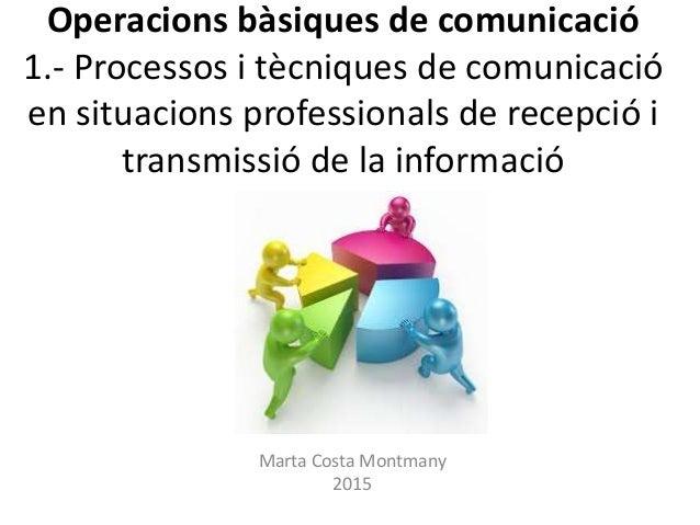 Operacions bàsiques de comunicació 1.- Processos i tècniques de comunicació en situacions professionals de recepció i tran...