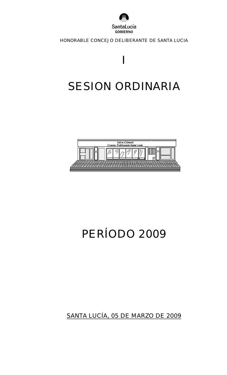 HONORABLE CONCEJO DELIBERANTE DE SANTA LUCIA                         I    SESION ORDINARIA            PERÍODO 2009       S...