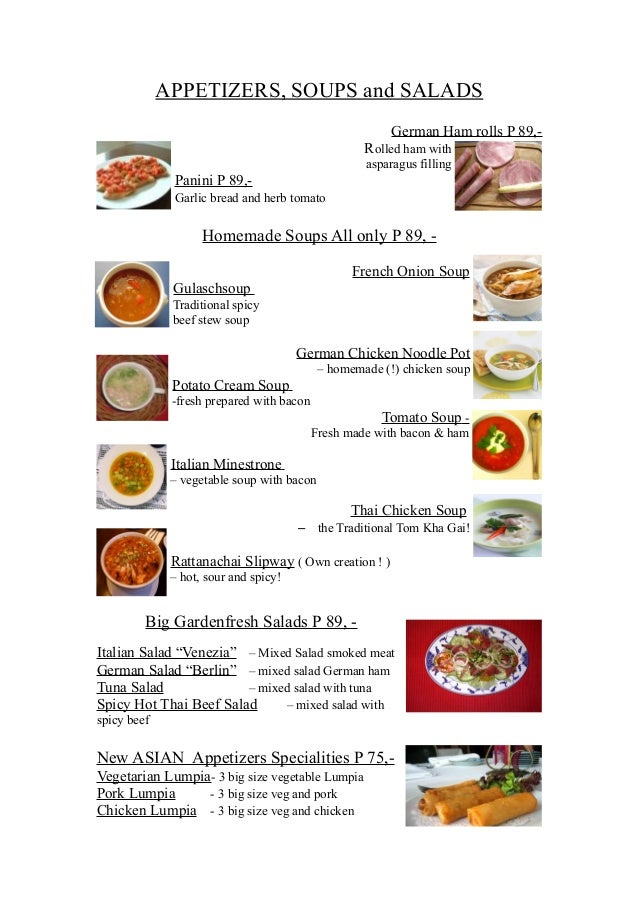 APPETIZERS, SOUPS and SALADS                                                         German Ham rolls P 89,-              ...