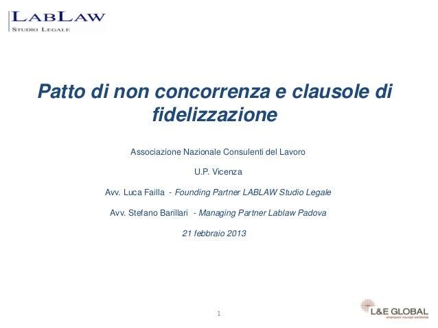 Patto di non concorrenza e clausole di            fidelizzazione             Associazione Nazionale Consulenti del Lavoro ...