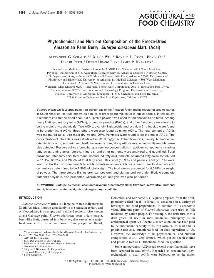 8598    J. Agric. Food Chem. 2006, 54, 8598−8603                        Phytochemical and Nutrient Composition of the Free...