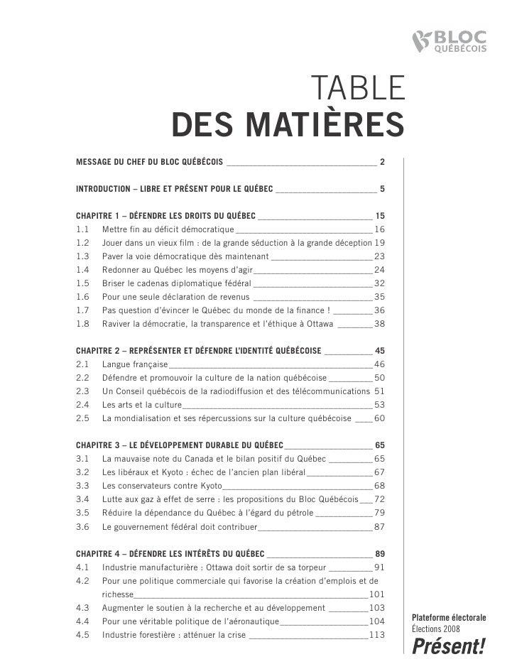 TABLE                        DES MATIÈRES Message du chef du Bloc QuéBécois __________________________________ 2   introdu...