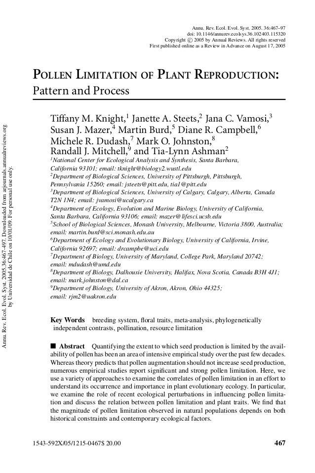 1 post. knight et al. (2005) pollen limitation ann rev