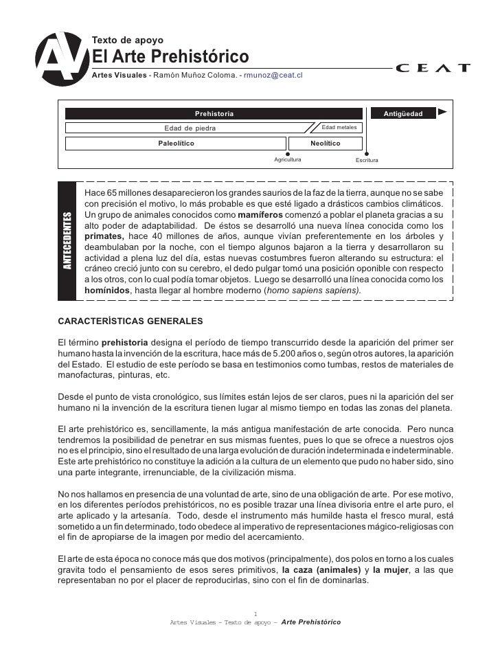 V                  Texto de apoyo   A                El Arte Prehistórico                  Artes Visuales - Ramón Muñoz Co...