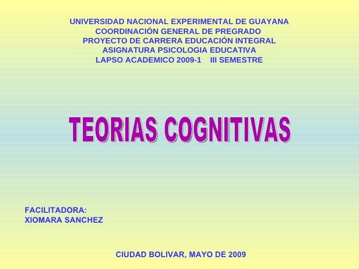UNIVERSIDAD NACIONAL EXPERIMENTAL DE GUAYANA COORDINACIÓN GENERAL DE PREGRADO  PROYECTO DE CARRERA EDUCACIÓN INTEGRAL ASIG...
