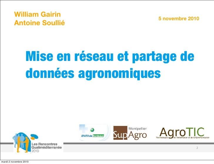 Mise en réseau et partage de données agronomiques - Etat de l'art